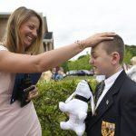 MHS Elementary Division principal congratulates a rising fifth-grader.