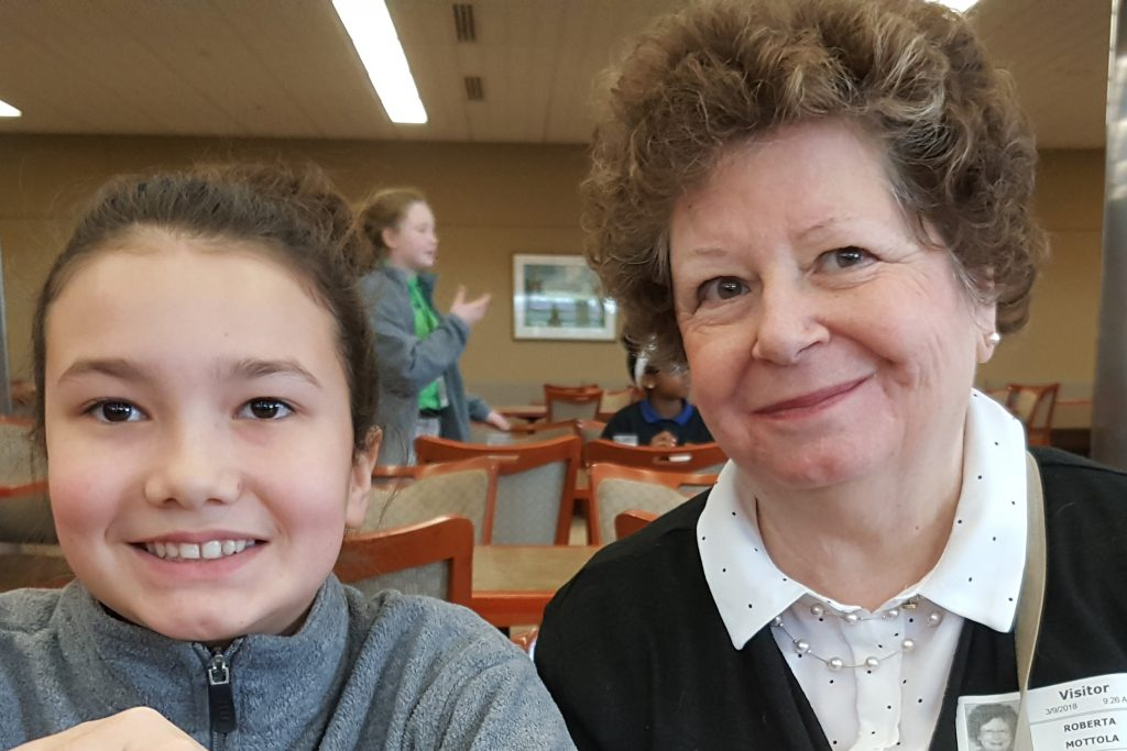 Roberta Mottola visiting her granddaughter at lunch time in Catherine Hall.