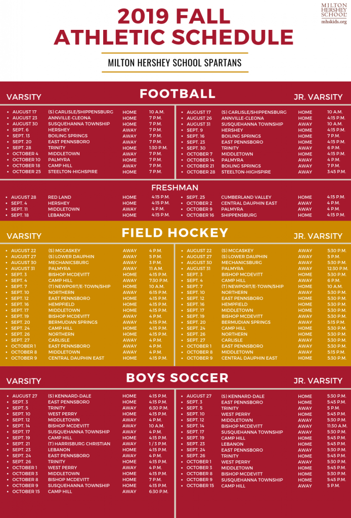 2019 Fall Athletic Schedule