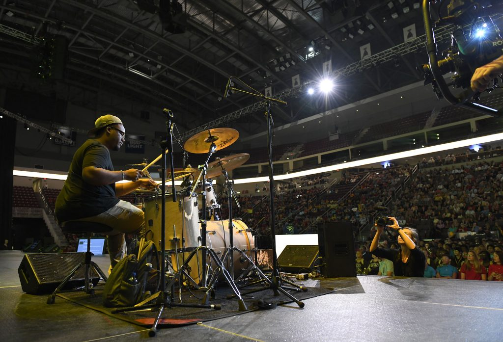 MHS alumnus Andre Sumler '17 performs during the 2019 Milton Hershey School Opening of School Assembly.