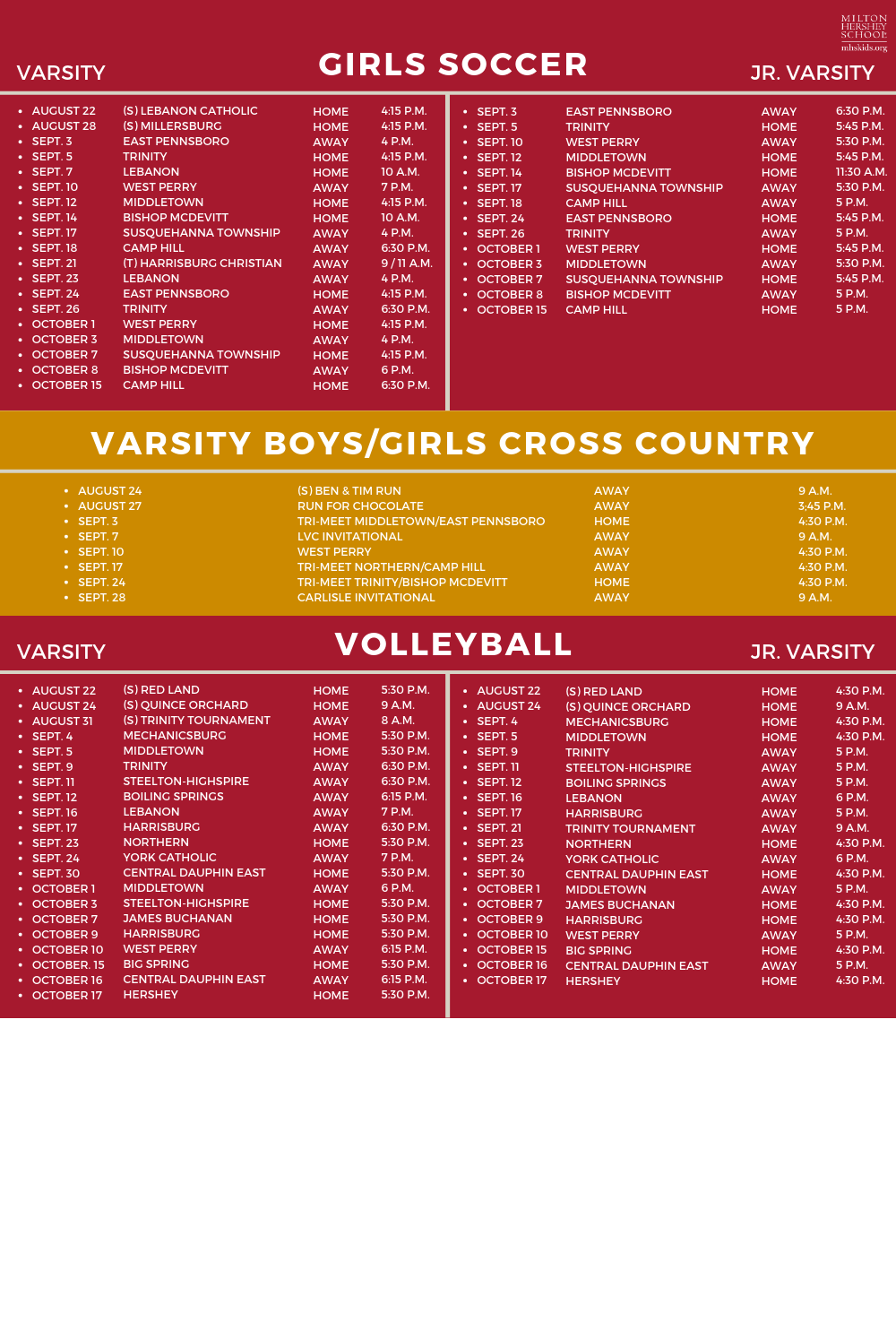 Fall athletic schedule for girls soccer, cross country, and volleyball.