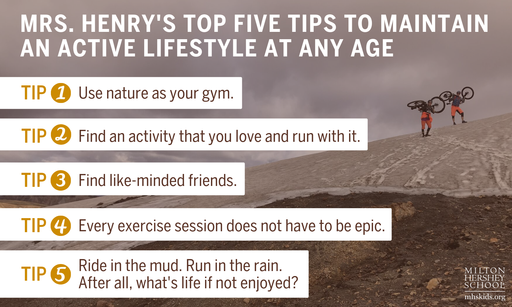 Milton Hershey School teacher, Sharon Henry, shares her five tips to maintain an active lifestyle.