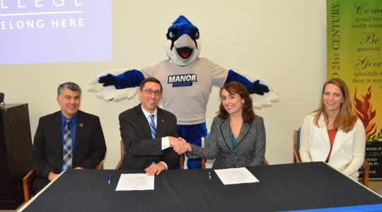 Milton Hershey School and Manor College sign a Memorandum of Understanding to support low-income, first-generation college students, including many MHS graduates.
