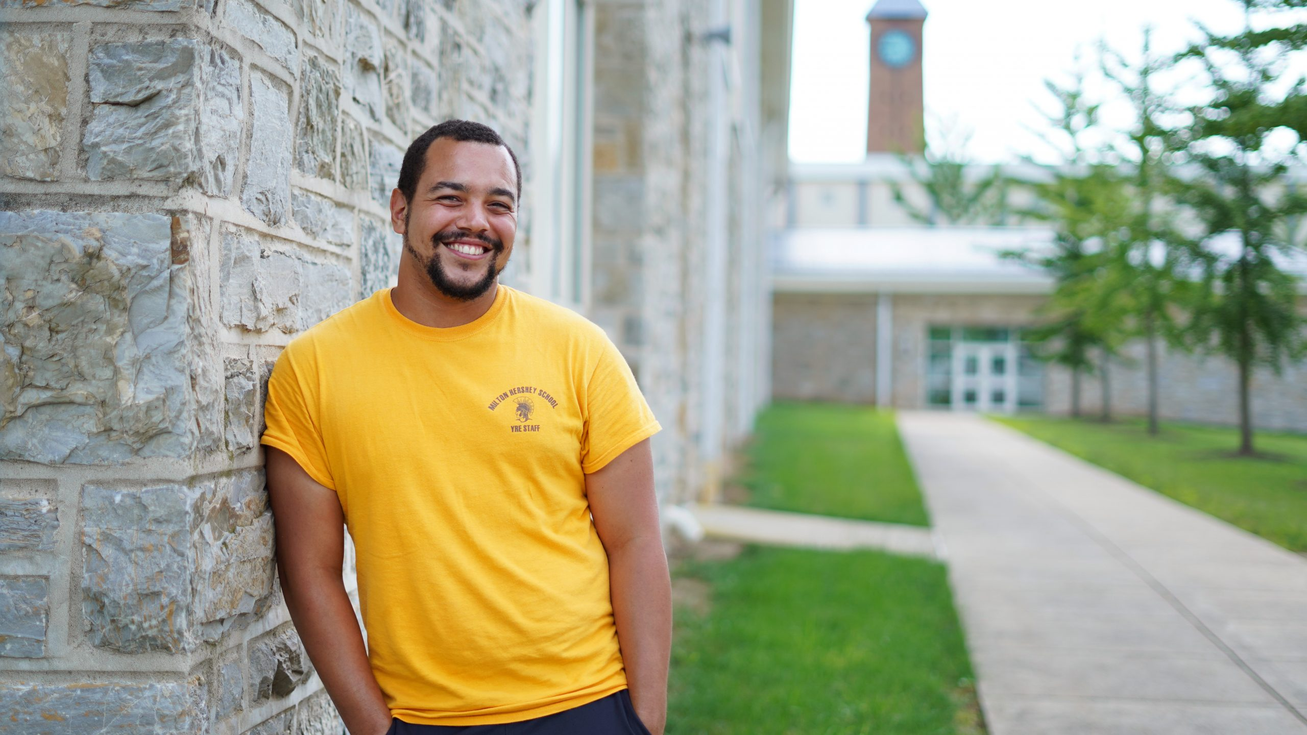 Milton Hershey School alumnus Tylor Teel '11 on campus during the Year-Round Experiences program.