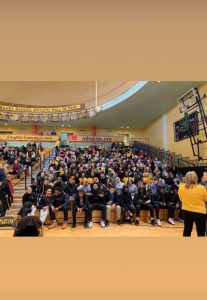 The Milton Hershey School Class of 2020 pose for a photo in the gym.