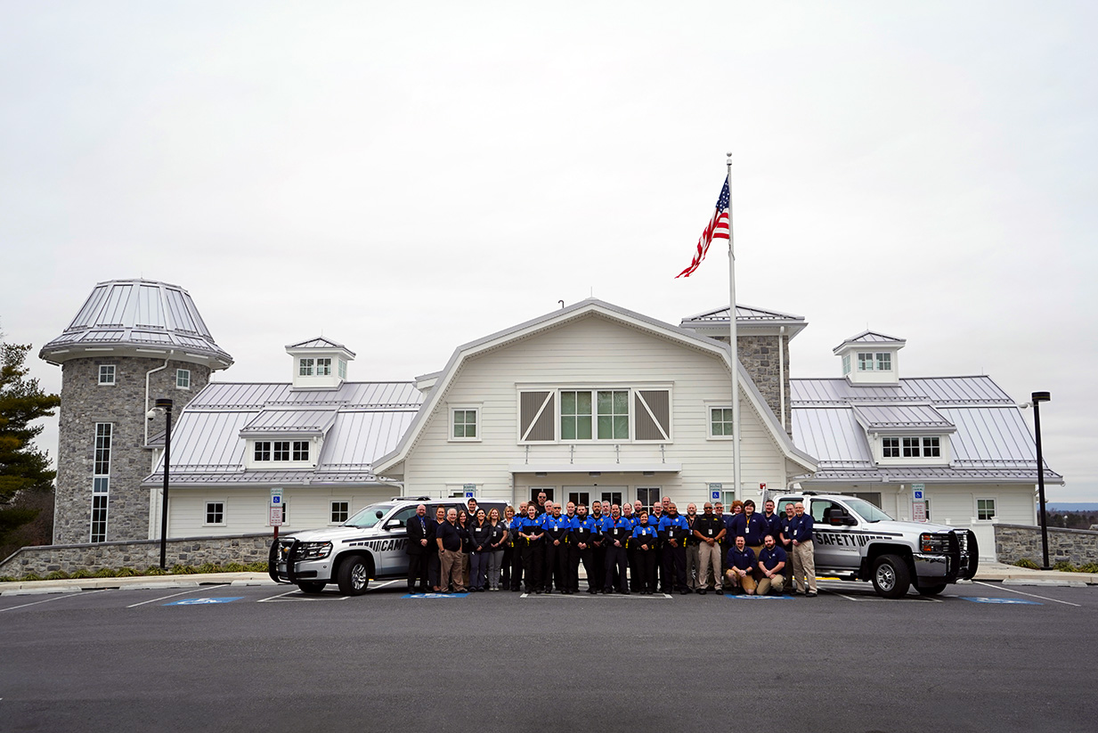 The Milton Hershey School Campus Safety team pose for a photo outside of the new Campus Safety building.