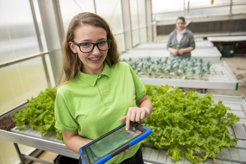 A Milton Hershey School student works in the greenhouse as part of the curriculum for the Agriculture and Natural Resources career pathway.